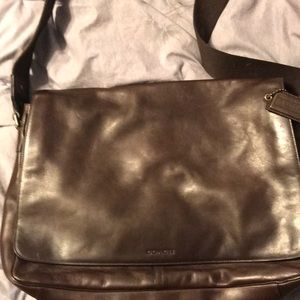 Coach Men's brown leather laptop bag